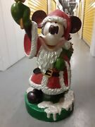 Rare Disney 3 Foot Tall Mickey Mouse Santa Holding Bell With Christmas Presents