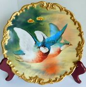 Gorgeous Antique Limoges L.r.l. Signed Hand Painted Game Bird Plate Gold Encrust