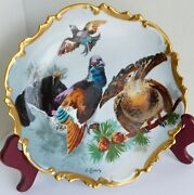 Gorgeous Antique Limoges Coronet Signed Hand Painted Game Bird Plate Gold Rim