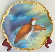 Gorgeous Antique Limoges Coronet Signed Hand Painted Quail Game Bird Plate