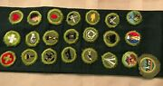 Vintage Boy Scout Merit Badge Sash With 22 Badges 1947 + Type E And F Sash 14