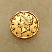 1853-o 1 Gold Liberty Head Type-1 - Better Date - Sharp Looking Coin