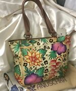 Anuschka Nwt🌺double Handle Dual Side Pocket Shoulder Tote-in The Tropics 7434