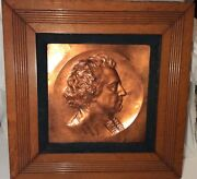 Antique 1885 Signed Db Sheahan Sculptor Copper Relief Plaque Irish Poet Sheridan