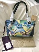 Anuschka Nwt🦋rare Twin Zip Top Tote+organizer Wallet-butterfly Glass Painting