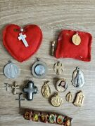 Lot Of 17 Vintage Religious Jewelry - Crosses, Charms And Pendants