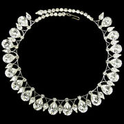 Hattie Carnegie Silver And Diamante Pears And039jeweled Smokeand039 Design Choker Necklace