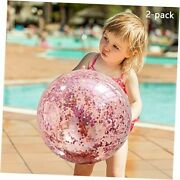2 Pack Sequin Beach Ball Jumbo Pool Toys Balls Giant Glitter Inflatable Clear
