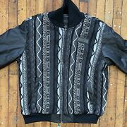 Vintage Coogi Full Zip Sweater Knit Xl Jacket With Faux Leather Sleeves