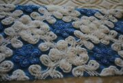 Shades Of Blue Daisys White Curly Ques 18x43 Vintage Chenille Fabric Sewbuzyb