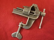 Vintage Small Clamp On Bench Vise 1 3/8 Wide Jaws Unknown Maker