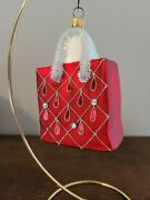 Nordstrom Red Shopping Bag Purse Christmas Glass Ornament Poland Sparkly