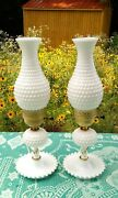 Pair Of 1950and039s White Milk Glass Hobnail Hurricane Lamps