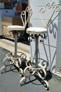 Vintage Pair 2 Heavy Duty Wrought Iron Metal Swiveling Bar Stools 4 Small Area
