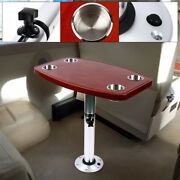 Table Pedestal Stand+ Oak Table Top With 4 Cup Holders For Rv Marine Boat New