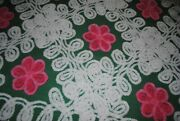 Shades Of Pink Daisys White Curly Ques 18x34 Vintage Chenille Fabric Sewbuzyb
