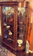 1800andrsquos Victorian Antique China Cabinet. Claw Feet And Bowed Glass Tiger Oak