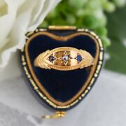 Antique Blue Sapphire And Diamond 15ct 15k Yellow Gold Boat Gypsy Ring 1896