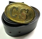 Civil War Cs Confederate Enlisted Field Belt And Buckle- Size 3 Fits 36-46 Inch