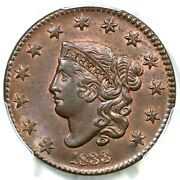 1833 N-1 Pcgs Ms 64+ Bn Matron Or Coronet Head Large Cent Coin 1c