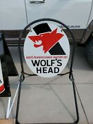 Wolf Head Motor Oil Advertising Sign New Old Stock Original