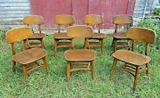 Set Of 7 Mid Centurymodern Wegner / Eames Style Curved Back Wooden Chairs