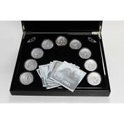 2015-2016 Cook Islands 2oz Antique Silver Norse Gods 9-coin Full Set W/wood Pre