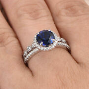Round 2.26 Ct Real Diamond Blue Sapphire Ring Set Solid 14k White Gold Size 7 8