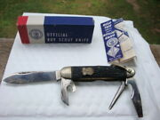 Vintage 1950and039s Official Bsa Boy Scout Knife Box Camillus With Box