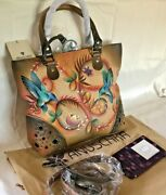 Anuschka Nwt🌺grommet And Stud Detailed Tote+card Organizer-flying Jewels Tan 559