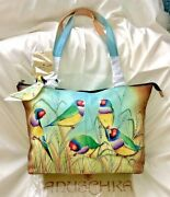 Anuschka Nwt🦜east-west Zip Top Double Handle Tote+keychain-frolicking Finches