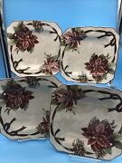 4 - Square Salad Plates Yuletide Celebration By 222 Fifth - Poinsettia Design