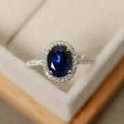 Oval 2.65 Ct Natural Diamond Blue Sapphire Rings Solid 14k Real White Gold 7 8 9