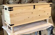 American Made Amish Style Blanket Hope Chest Solid Wood Vintage Farmhouse Trunk