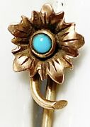 Antique Victorian 10k Gold Flower Stick Pin Turquoise Accents L1