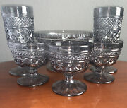 Anchor Hocking Wexford Footed Serving Bowl, Sherbert And Tea Glass Goblets