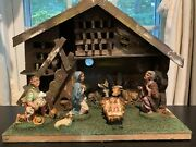 Vintage Fontanini Nativity Scene Set Of 7 Figures W/ Wood Manger Made In Italy