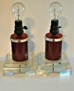 Pair Of Amazing Table Lamps. International Style 1940's. Lucite Clear And Red