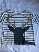 Crewcuts Size 10 Striped Reindeer Shirt 3/4 Length Sleeve. Great