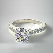 Brilliant Cut 0.86 Ct Real Diamond Engagement Ring Solid 14k White Gold Size 6 7