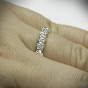 Excellent Round 0.90 Ct Real Diamond Wedding Band 14k Solid White Gold Size 7 8
