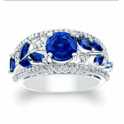 Excellent Round 1.92 Ct Diamond Real Blue Sapphire Ring 14k White Gold Size 8 9