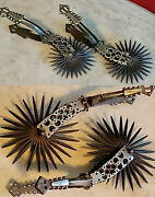2 Pairs Of Vintage Antique Chilean Spurs Iron Silver