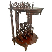 Vintage Victorian Table Magazine Rack Bottom Storage Chinese Chippendale
