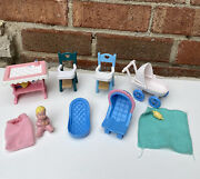 Fisher Price Loving Family Dollhouse Baby Pink Nursery Lot 1993/1994 Vintage