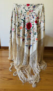 Antique 1800s Victorian Silk Floral Birds Embroidered Piano Shawl Hand Knotted