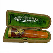 Antique Genuine Amber Cigarette / Cigar Holder Gold Plated Rim And Stag W Case