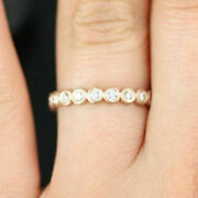 Real 0.60 Ct Round Diamond Engagement Eternity Band Solid 14k Rose Gold Size 7 8