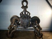 Antique 1800and039s Cast Iron - Hay Trolley Barn/farm Quadruple Pulley Traveler Wow