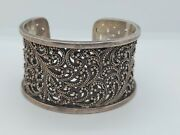 Lois Hill Sterling Silver Granulated Beads Scroll Design Wide Cuff Bracelet